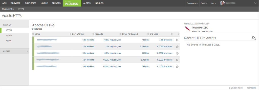 New Relic Plugins Apache Listing