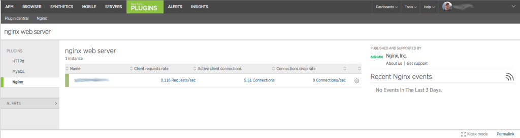 New Relic Plugins Nginx Listing